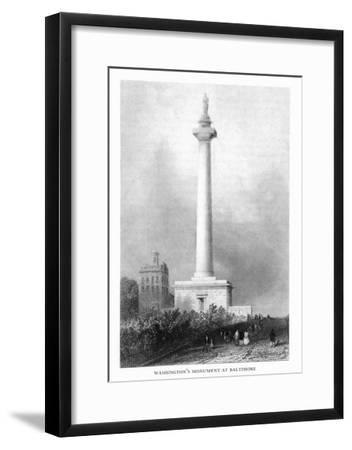 Baltimore, Maryland, View of Washington's Monument-Lantern Press-Framed Art Print