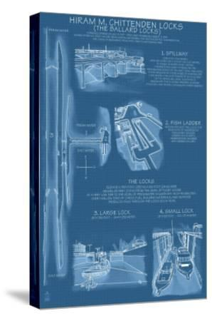 Seattle, Washington, Ballard Locks Technical Blueprint-Lantern Press-Stretched Canvas Print