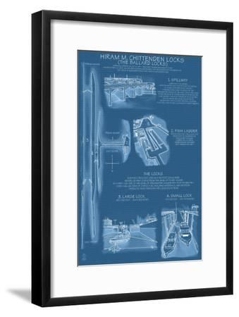 Seattle, Washington, Ballard Locks Technical Blueprint-Lantern Press-Framed Art Print