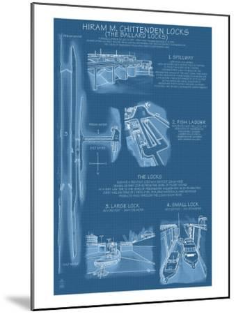 Seattle, Washington, Ballard Locks Technical Blueprint-Lantern Press-Mounted Art Print