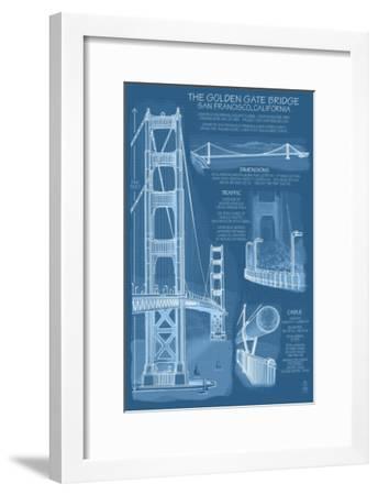 San Francisco Ca Golden Gate Bridge Technical Blueprint Lantern Press Framed Art