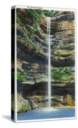 Starved Rock State Park, IL, View of the St. Louis Canyon and Falls-Lantern Press-Stretched Canvas Print