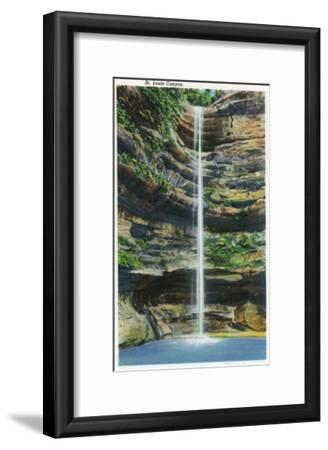 Starved Rock State Park, IL, View of the St. Louis Canyon and Falls-Lantern Press-Framed Art Print