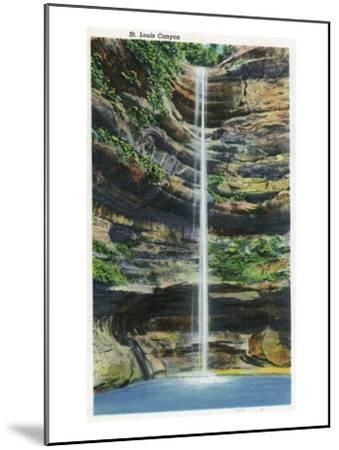 Starved Rock State Park, IL, View of the St. Louis Canyon and Falls-Lantern Press-Mounted Art Print