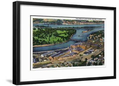 Moline, Illinois, Aerial View of the John Deere Plant-Lantern Press-Framed Art Print