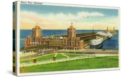 Chicago, Illinois, Panoramic View of Navy Pier-Lantern Press-Stretched Canvas Print