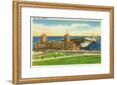 Chicago, Illinois, Panoramic View of Navy Pier-Lantern Press-Framed Art Print