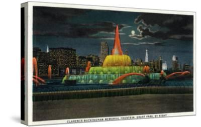 Chicago, IL, Grant Park, Panoramic View of the C. Buckingham Memorial Fountain at Night-Lantern Press-Stretched Canvas Print