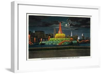 Chicago, IL, Grant Park, Panoramic View of the C. Buckingham Memorial Fountain at Night-Lantern Press-Framed Art Print