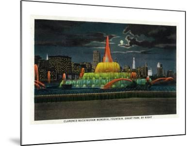 Chicago, IL, Grant Park, Panoramic View of the C. Buckingham Memorial Fountain at Night-Lantern Press-Mounted Art Print