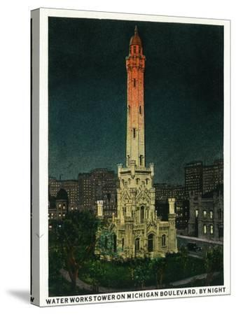 Chicago, Illinois, Exterior View of the Waterworks Tower on Michigan Blvd at Night-Lantern Press-Stretched Canvas Print