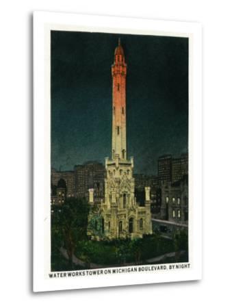 Chicago, Illinois, Exterior View of the Waterworks Tower on Michigan Blvd at Night-Lantern Press-Metal Print