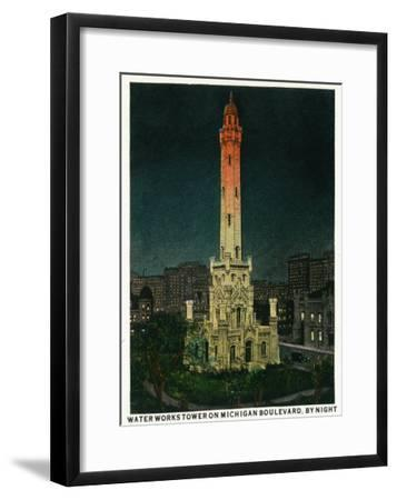 Chicago, Illinois, Exterior View of the Waterworks Tower on Michigan Blvd at Night-Lantern Press-Framed Art Print
