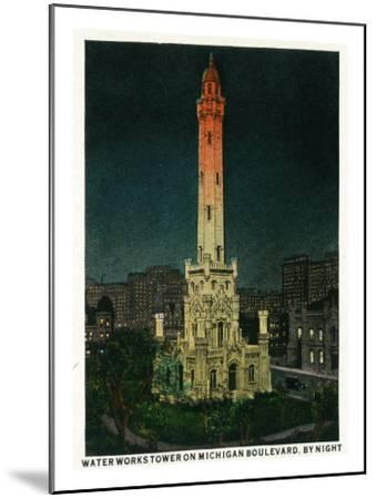 Chicago, Illinois, Exterior View of the Waterworks Tower on Michigan Blvd at Night-Lantern Press-Mounted Art Print