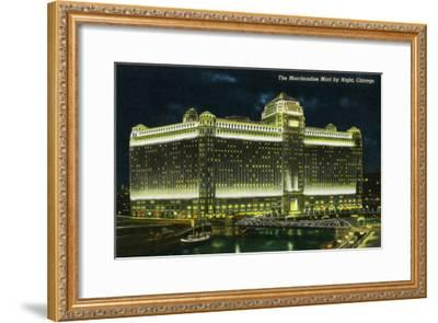 Chicago, Illinois, Exterior View of the Merchandise Mart Building at Night-Lantern Press-Framed Art Print