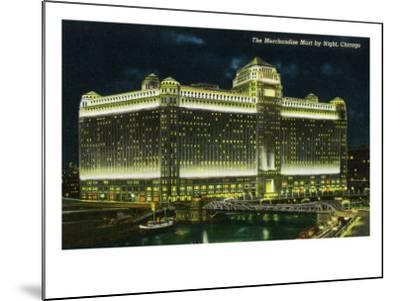 Chicago, Illinois, Exterior View of the Merchandise Mart Building at Night-Lantern Press-Mounted Art Print