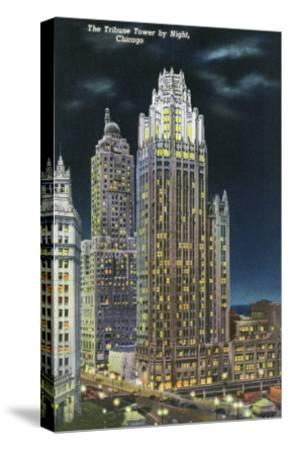 Chicago, Illinois, Exterior View of an Illuminated Tribune Tower at Night-Lantern Press-Stretched Canvas Print