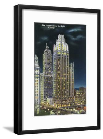 Chicago, Illinois, Exterior View of an Illuminated Tribune Tower at Night-Lantern Press-Framed Art Print