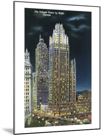 Chicago, Illinois, Exterior View of an Illuminated Tribune Tower at Night-Lantern Press-Mounted Art Print