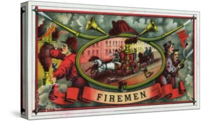 Firemen Brand Cigar Box Label, Firemen with Hoses-Lantern Press-Stretched Canvas Print