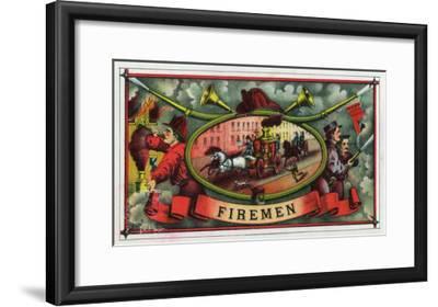 Firemen Brand Cigar Box Label, Firemen with Hoses-Lantern Press-Framed Art Print