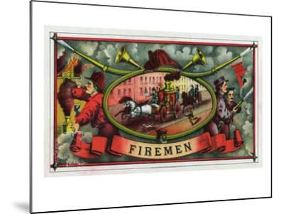 Firemen Brand Cigar Box Label, Firemen with Hoses-Lantern Press-Mounted Art Print