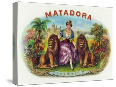 Matadora Brand Cigar Inner Box Label, Lady with Lions-Lantern Press-Stretched Canvas Print