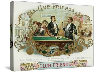 Club Friends Brand Cigar Box Label, Billards-Lantern Press-Stretched Canvas Print