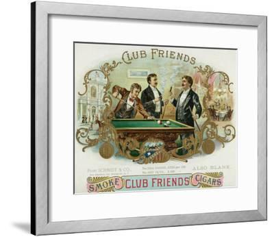 Club Friends Brand Cigar Box Label, Billards-Lantern Press-Framed Art Print