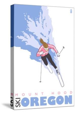 Mount Hood, Oregon, Stylized Skier-Lantern Press-Stretched Canvas Print
