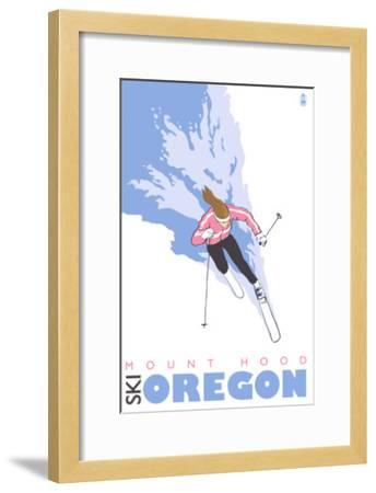 Mount Hood, Oregon, Stylized Skier-Lantern Press-Framed Art Print