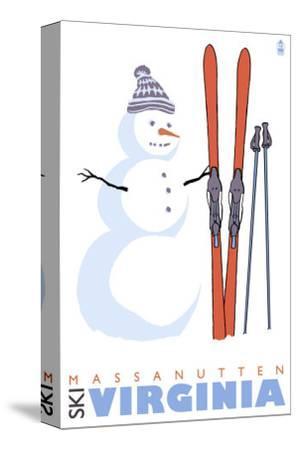 Massanutten, Virginia, Snowman with Skis-Lantern Press-Stretched Canvas Print