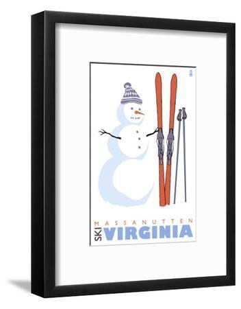 Massanutten, Virginia, Snowman with Skis-Lantern Press-Framed Art Print