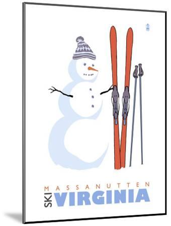 Massanutten, Virginia, Snowman with Skis-Lantern Press-Mounted Art Print