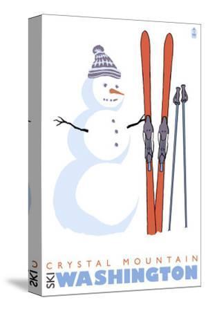 Crystal Mountain, Washington, Snowman with Skis-Lantern Press-Stretched Canvas Print
