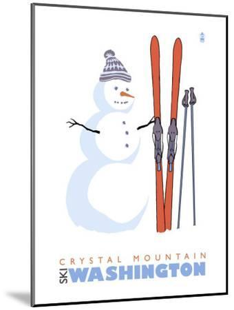 Crystal Mountain, Washington, Snowman with Skis-Lantern Press-Mounted Art Print