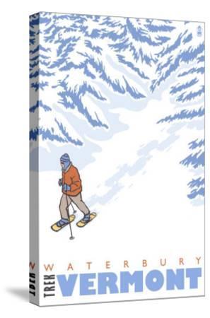 Stylized Snowshoer, Waterbury, Vermont-Lantern Press-Stretched Canvas Print
