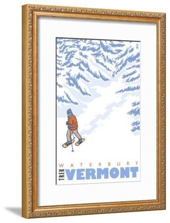 Stylized Snowshoer, Waterbury, Vermont-Lantern Press-Framed Art Print
