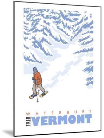Stylized Snowshoer, Waterbury, Vermont-Lantern Press-Mounted Art Print