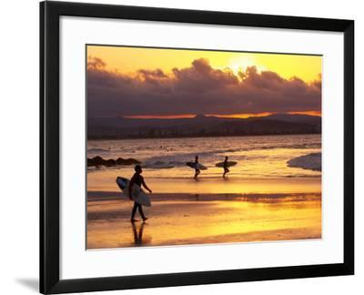 Surfers at Sunset, Gold Coast, Queensland, Australia-David Wall-Framed Photographic Print