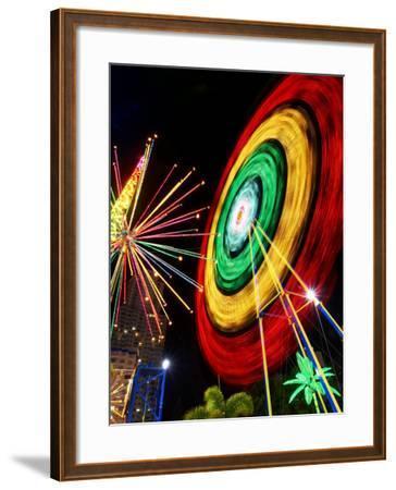 Amusement Park at Night, Surfers Paradise, Gold Coast, Queensland, Australia-David Wall-Framed Photographic Print