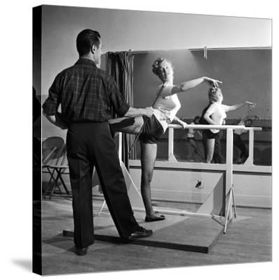 Young Upcoming Starlet Marilyn Monroe Practicing in Dance Class-J^ R^ Eyerman-Stretched Canvas Print