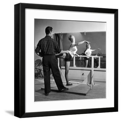 Young Upcoming Starlet Marilyn Monroe Practicing in Dance Class-J^ R^ Eyerman-Framed Premium Photographic Print