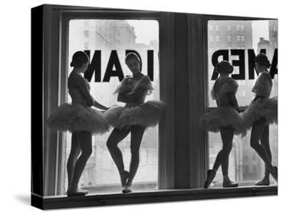 Ballerinas Standing on Window Sill in Rehearsal Room, George Balanchine's School of American Ballet-Alfred Eisenstaedt-Stretched Canvas Print