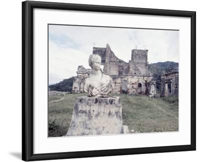 Unidentified Ruins Including Bust of a Woman in Haiti-Lynn Pelham-Framed Photographic Print