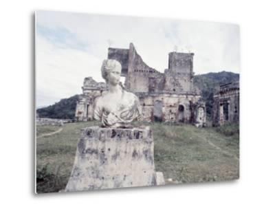 Unidentified Ruins Including Bust of a Woman in Haiti-Lynn Pelham-Metal Print