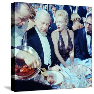 Ambassador Winthrop Aldrich Chats with Marilyn Monroe as Husband Arthur Miller Looks on, Paris Ball-Peter Stackpole-Stretched Canvas Print
