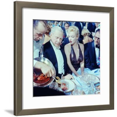 Ambassador Winthrop Aldrich Chats with Marilyn Monroe as Husband Arthur Miller Looks on, Paris Ball-Peter Stackpole-Framed Premium Photographic Print
