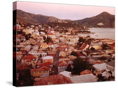 The Carribean: Low Aerials of Charlotte Amalie Capital of St Thomas-Eliot Elisofon-Stretched Canvas Print