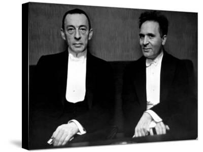 Orchestral Conductor Bruno Walter and Composer Pianist Sergei Rachmaninoff Relaxing Performance-Alfred Eisenstaedt-Stretched Canvas Print